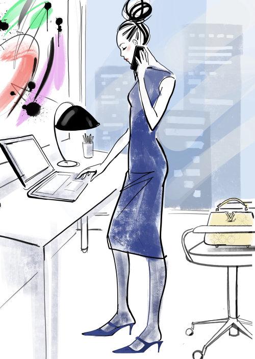 illustration aquarelle de femme élégante, parler au téléphone