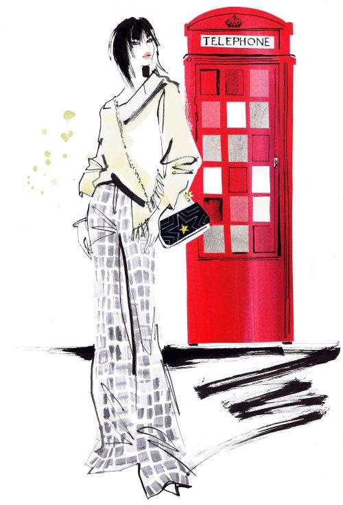 illustration aquarelle de femme et cabine téléphonique rouge