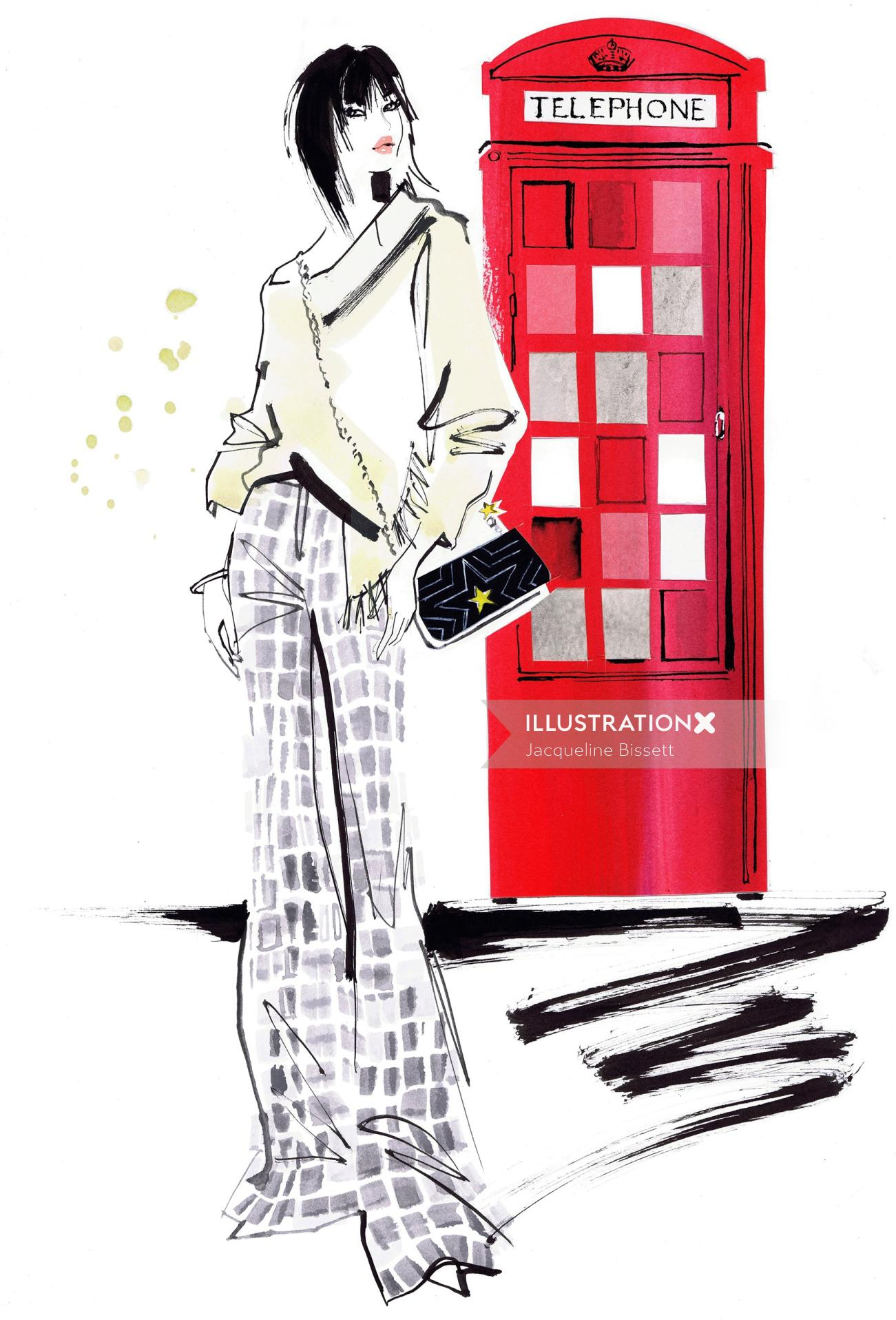 watercolor illustration of woman and red telephone booth