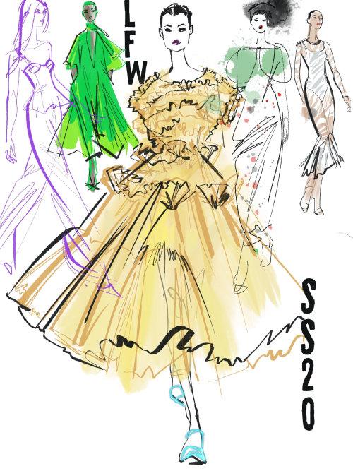 Fashion women at London Fashion Week SS20