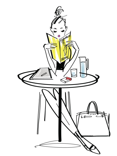 Fashion girl reading a book line illustration