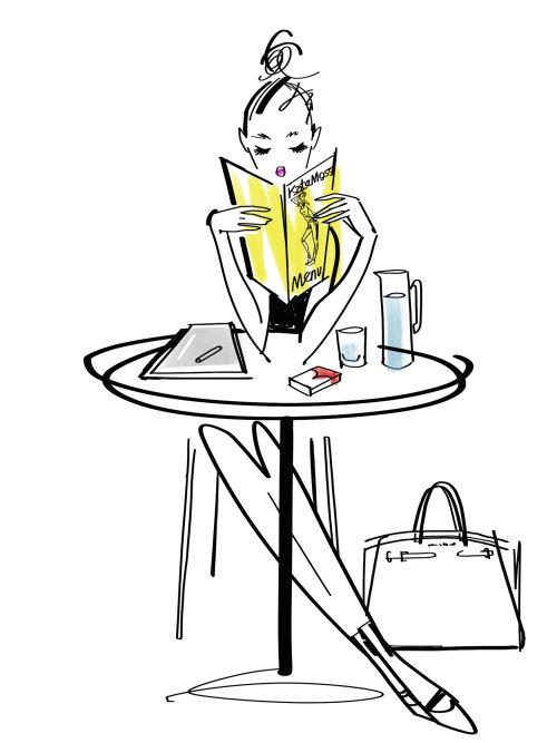 Fille de mode lisant une illustration de ligne de livre
