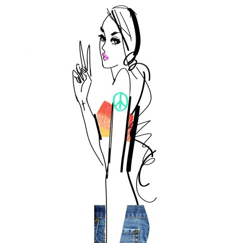 line illustration of fashion female model