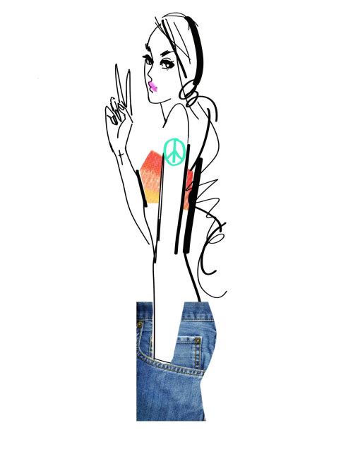 illustration de la ligne de mannequin femme