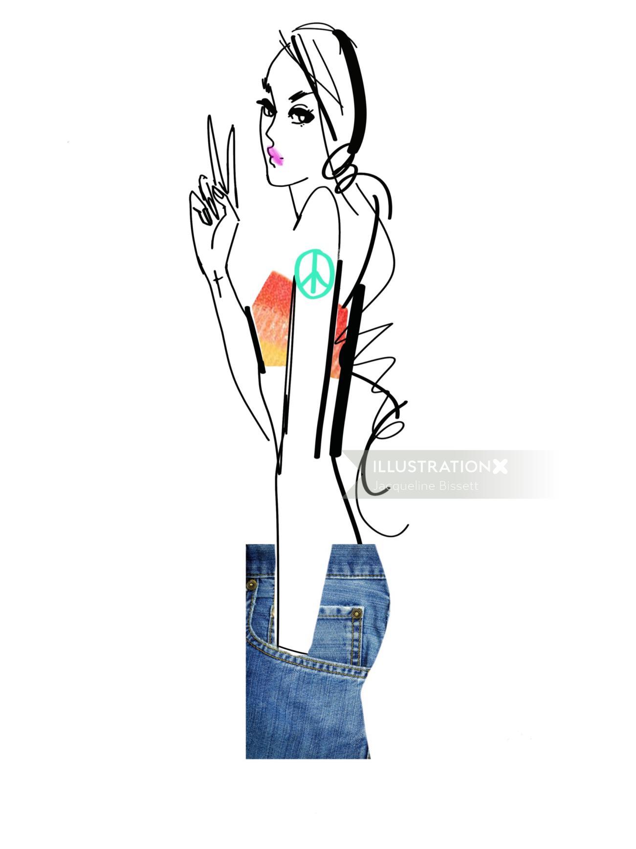 line illustration of fashion female model