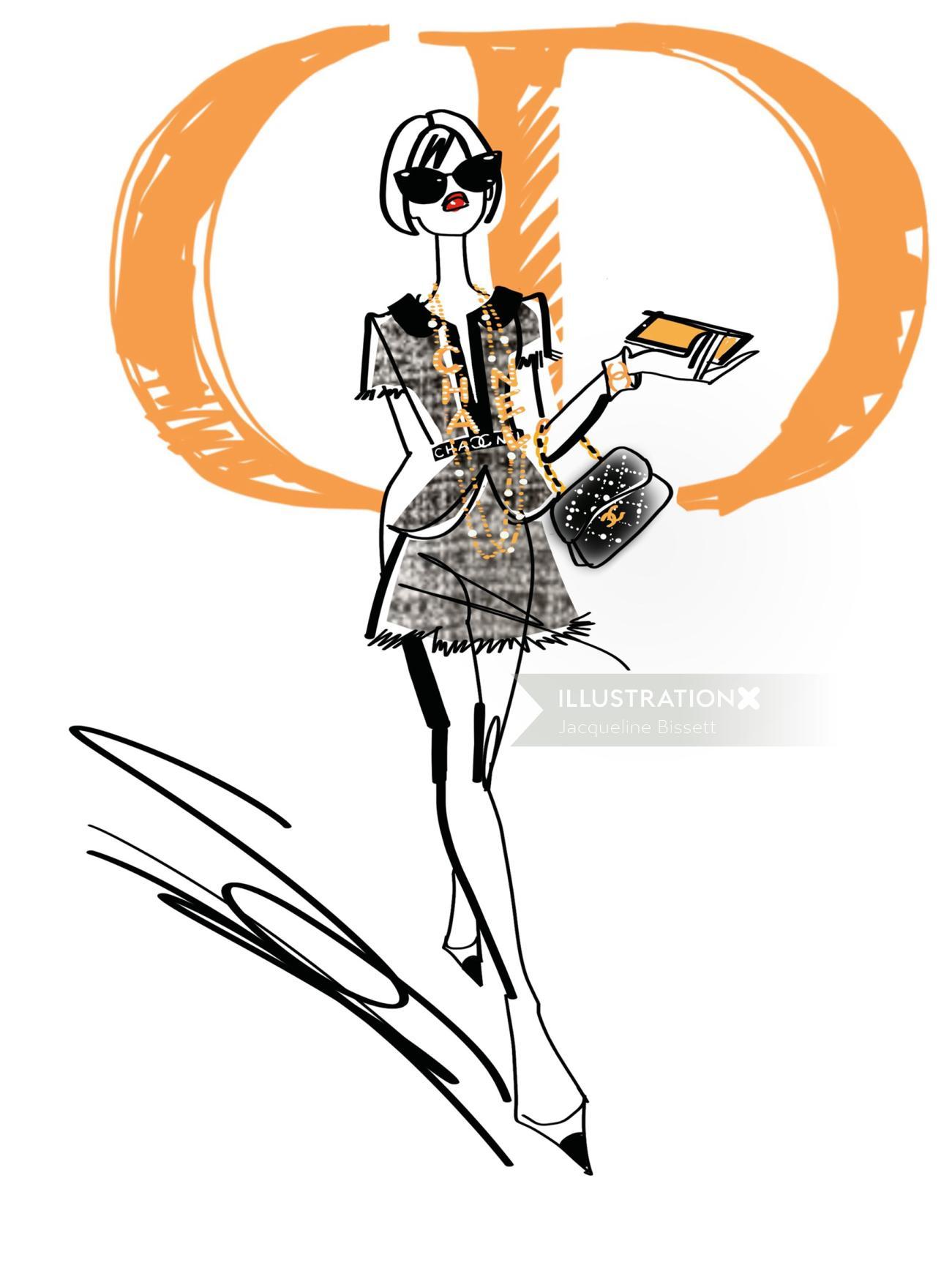 fashion illustration of female model