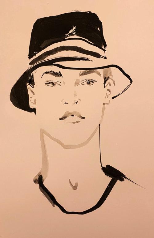 Portrait d'homme réalisé à l'aquarelle