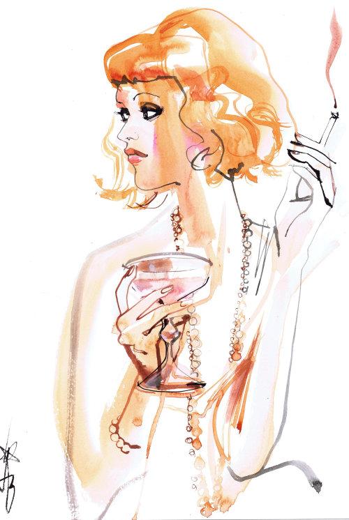 Illustration de mode de la fille qui fume les cheveux gris