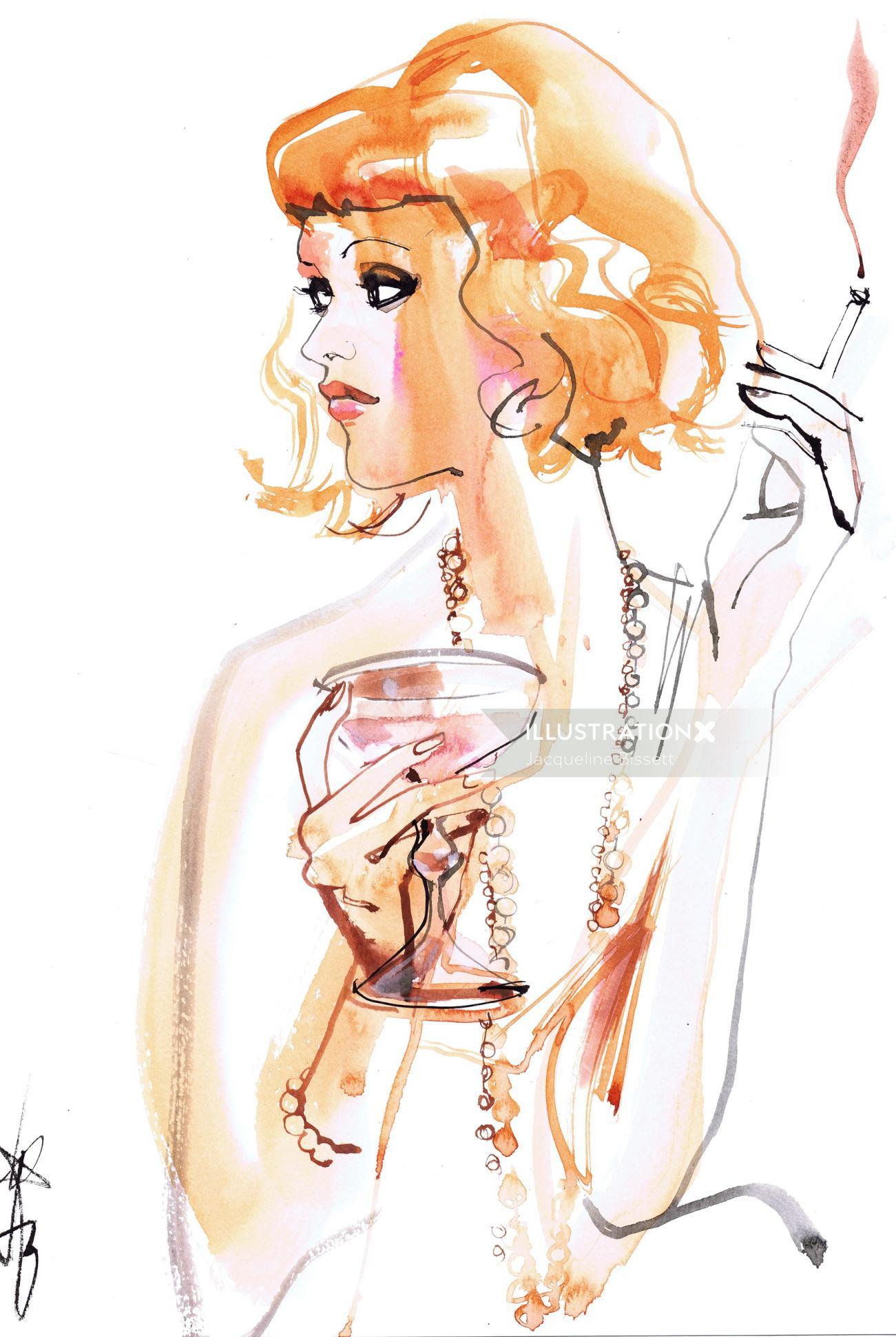 Fashion illustration of grey hair smoking girl