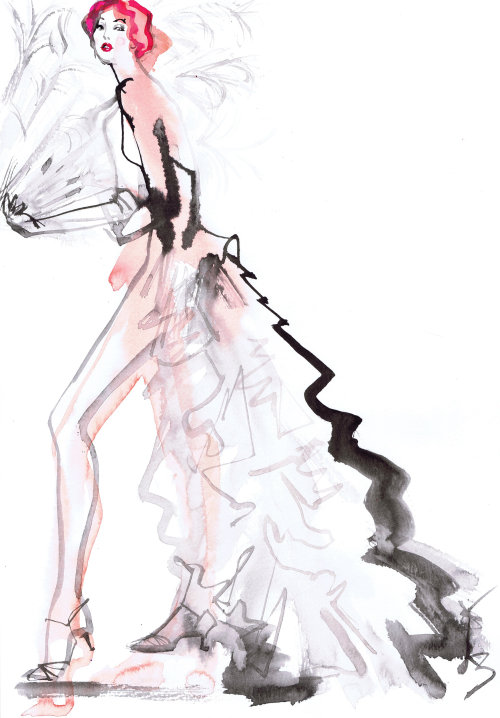 Line drawing of fashion beauty