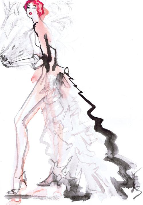 Dessin au trait de la beauté de la mode