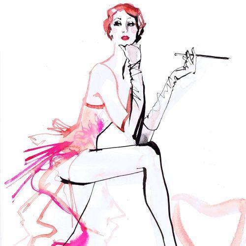 Jacqueline Bissett Ilustrador de moda internacional. Reino Unido