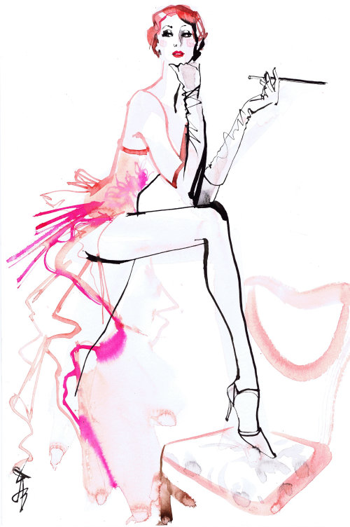 Fashion drawing of woman with cigar