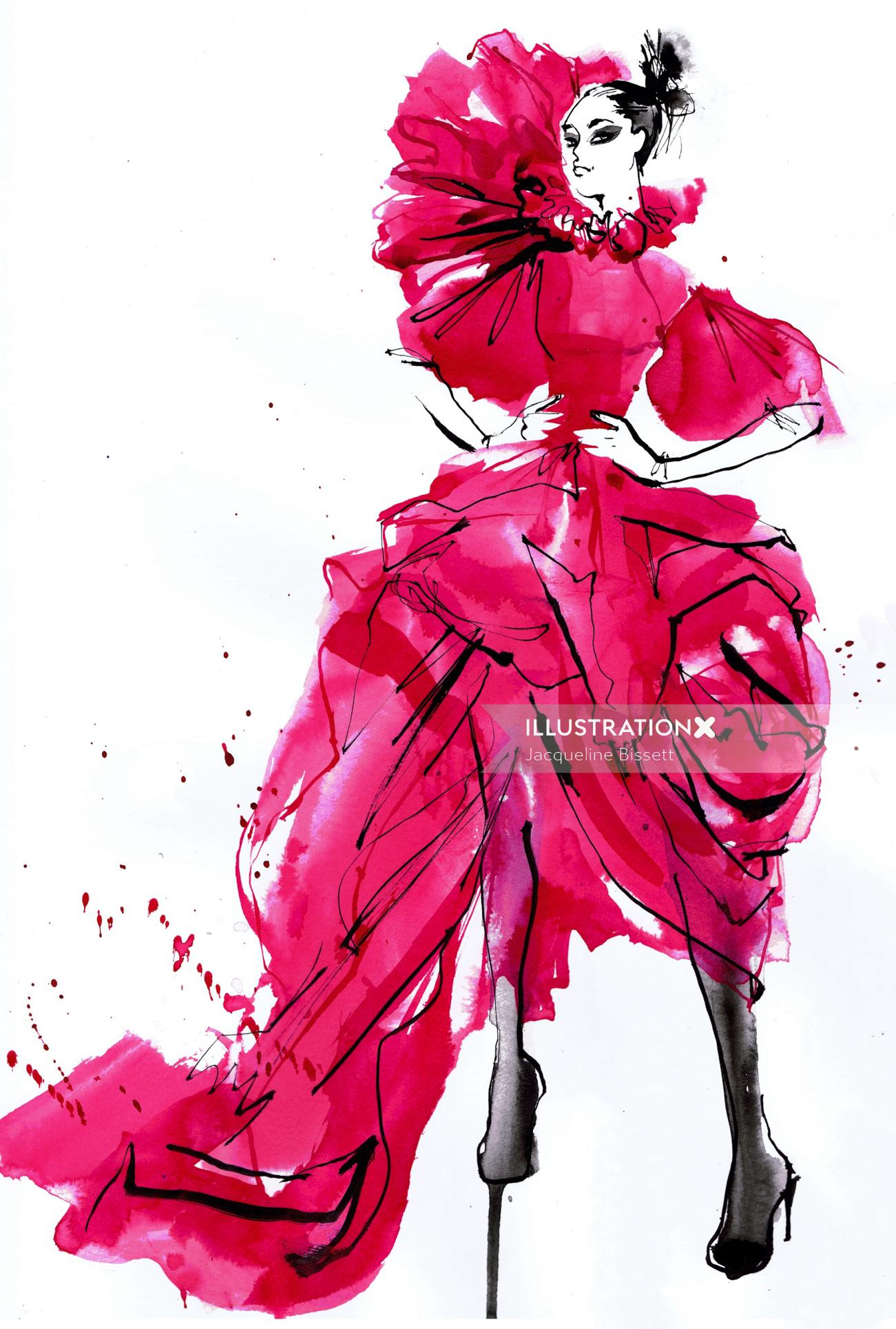 Long flowing red gown fashion illustration for McQueen Creators