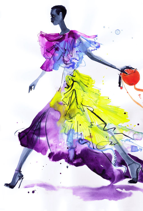 Colorful gown fashion illustration in lockdown