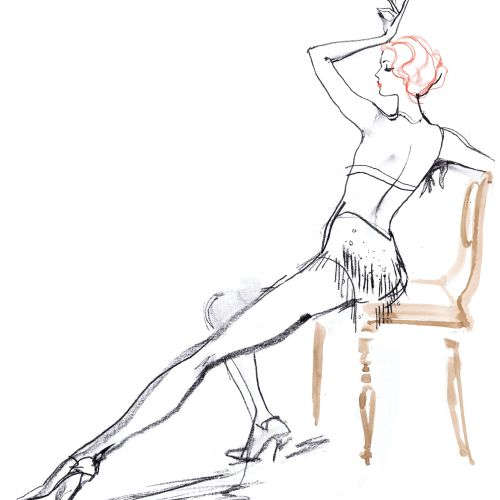 Line drawing of model posing in chair