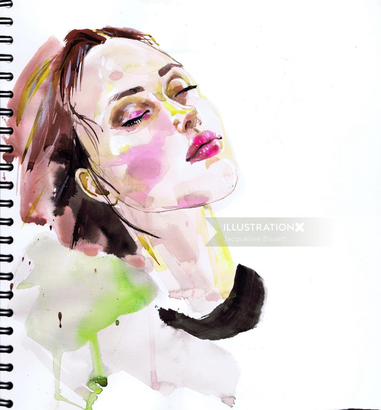 Watercolor fashion portrait of girl