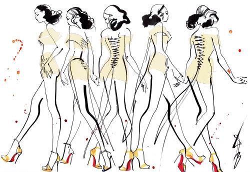 Catwalk girls fashion illustration for Dita Von Teese