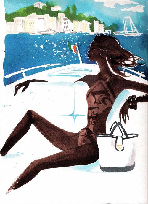 encre aquarelle femme magazine Orient Express