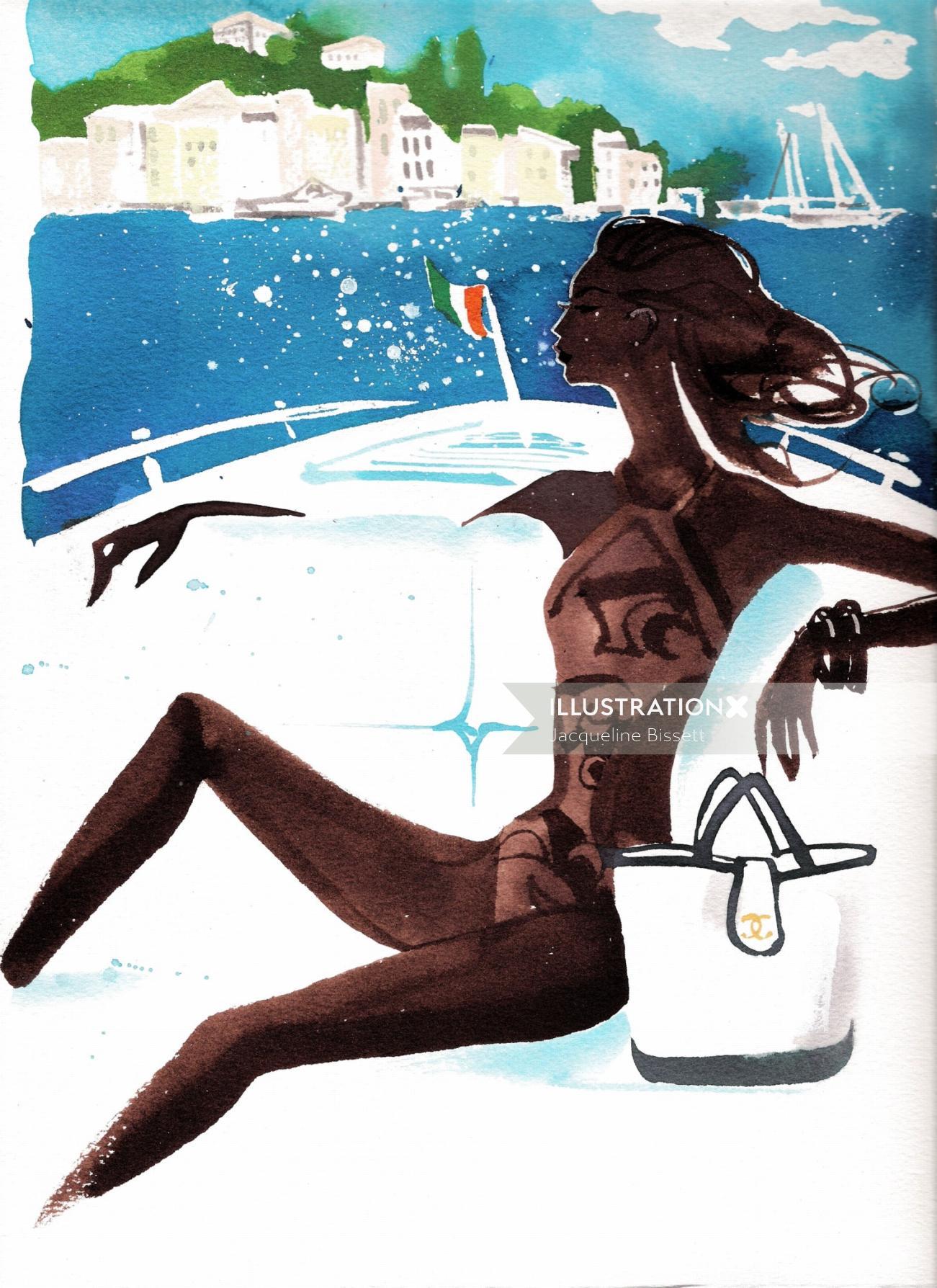 women watercolor ink Orient Express magazine