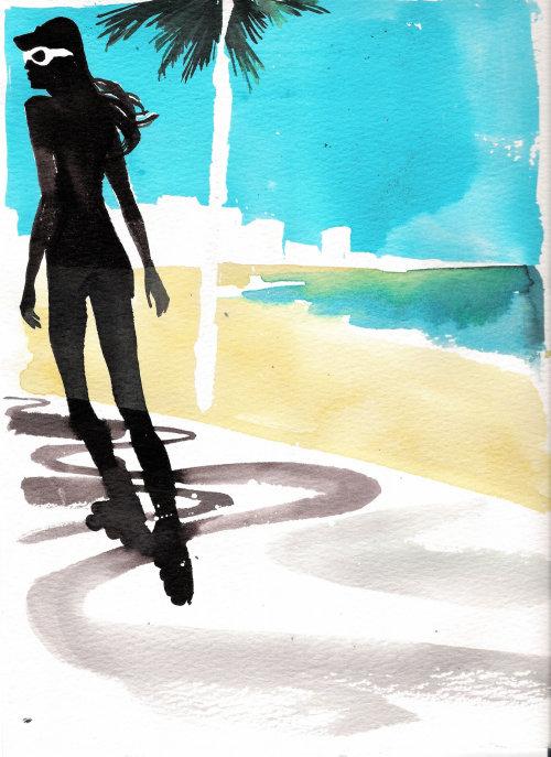 Peinture à l'encre aquarelle d'une fille de patinage