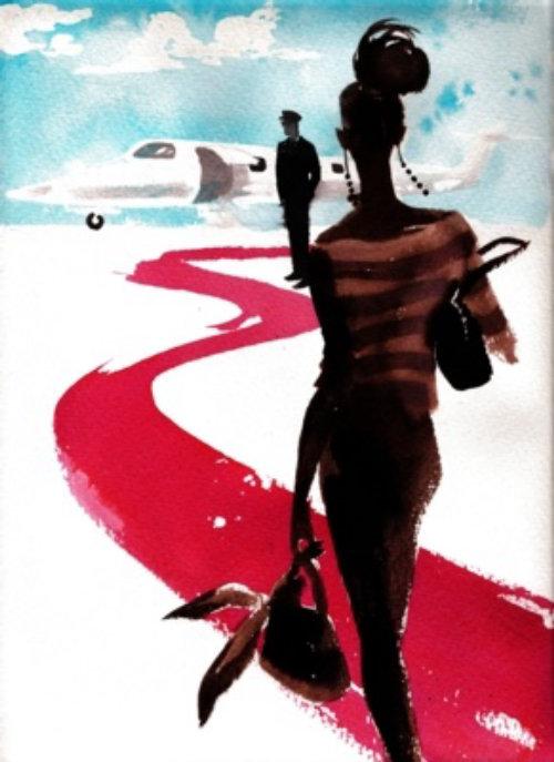 Une dame de la mode prête à voler - croquis aquarelle