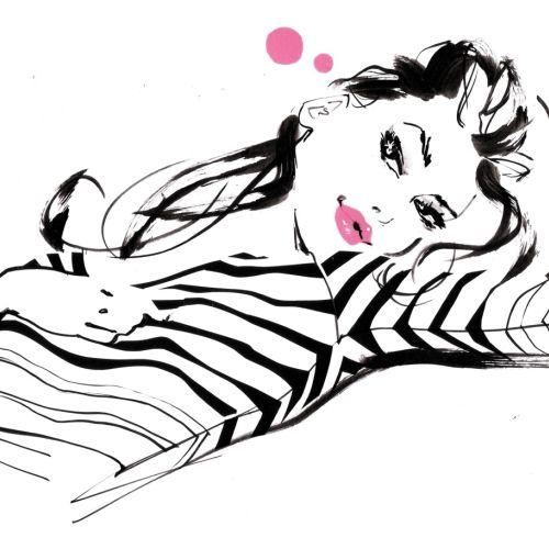 Illustration of lady fashion costumes