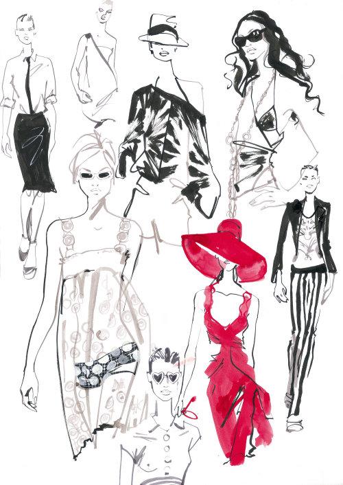 Fashion costume portfolio line art