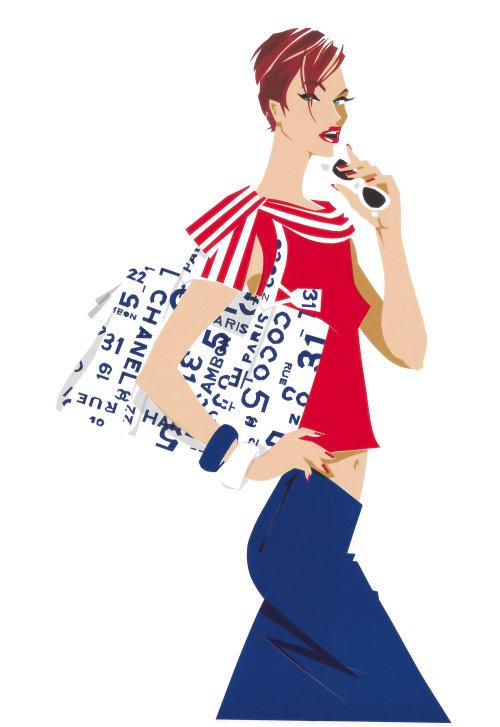 Fashion illustration of woman with handbag
