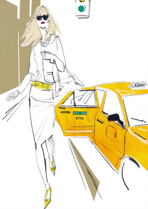 Dame de la mode avec voiture dans la rue