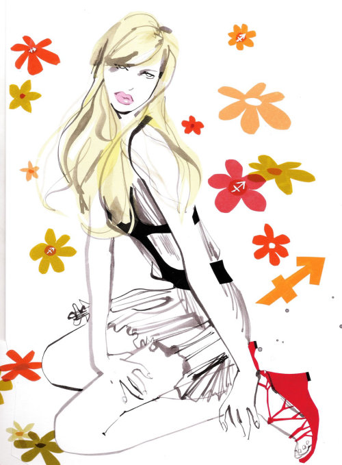 Fashion model with flower pattern