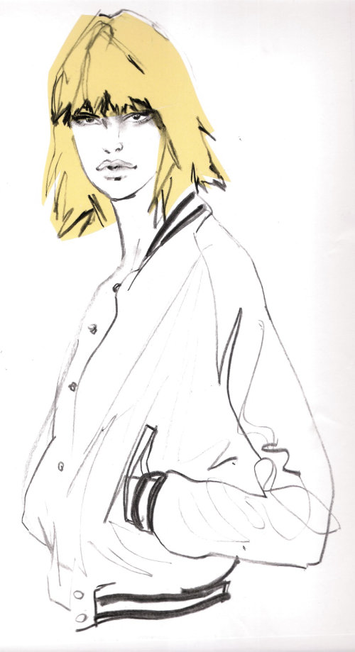 Fashion model with yellow hair