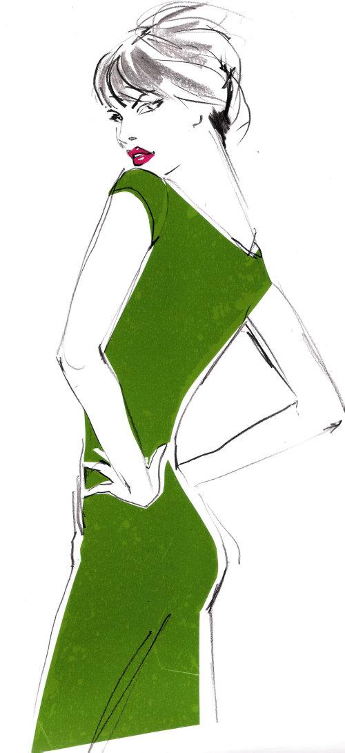 Costume de mode portant illustration de femme