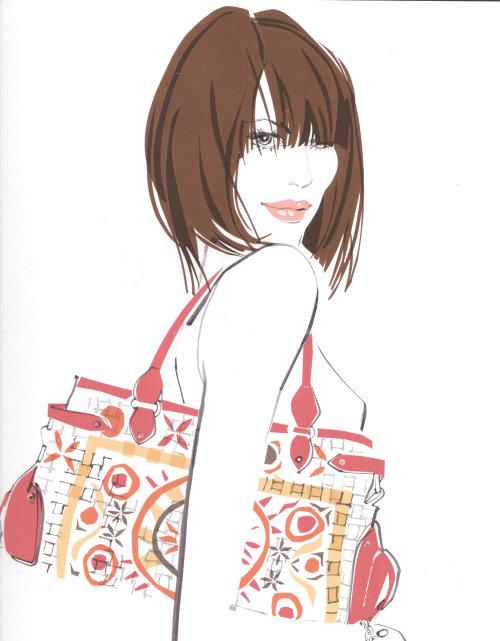 Fashion model with bag