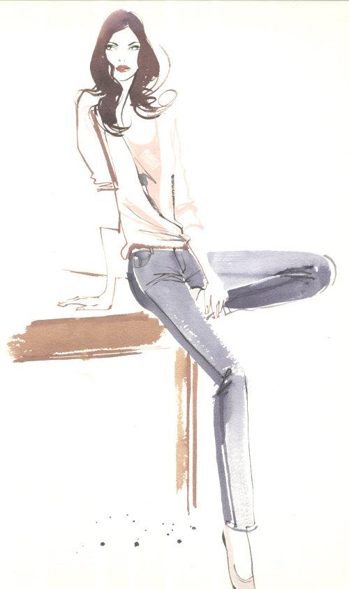 Line illustration of stylish girl