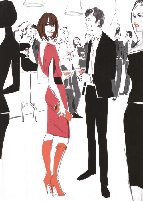 Illustration de mode de vêtements de fête page de blog Escada mars 2009