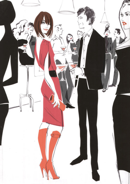 Couple Hang Out - illustration by Jacqueline Bissett