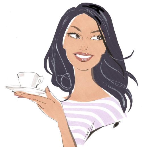 portrait de femme avec une tasse de café