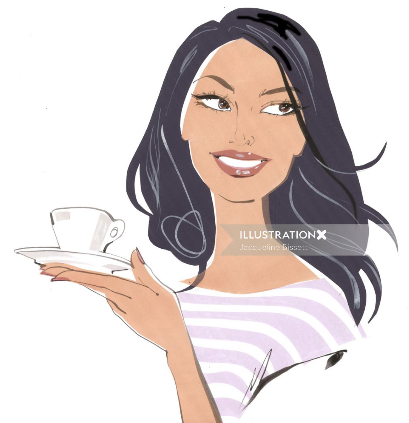 woman portraiture with cup of coffee