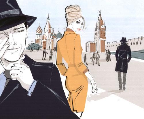 Jolie dame regardant en arrière pour attirer l'homme - illustration