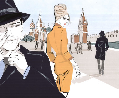 Chapeau noir portant Guy avec Lady - Croquis
