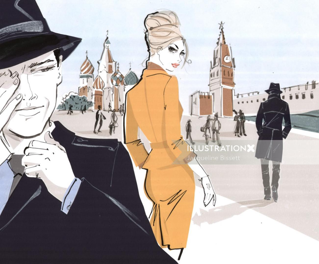 Black Hat wearing Guy with Lady - Sketch