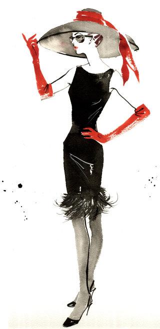 Vintage fashion icons illustration
