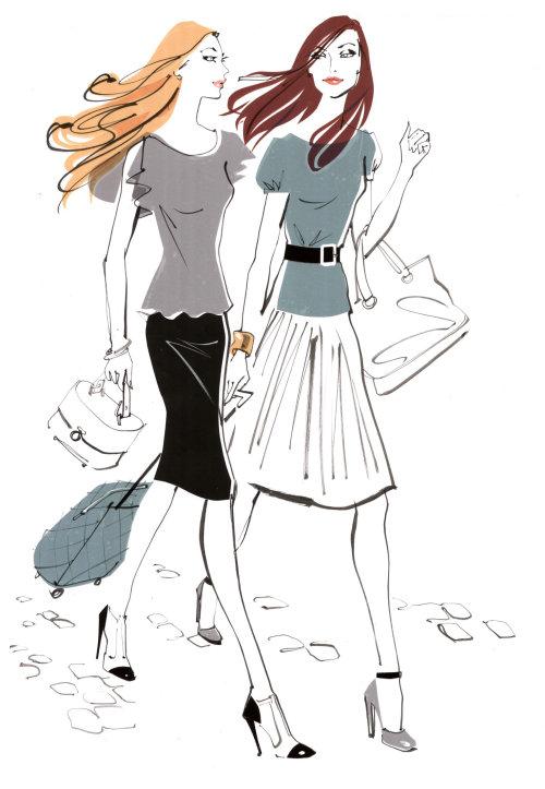 deux filles de la mode en vacances