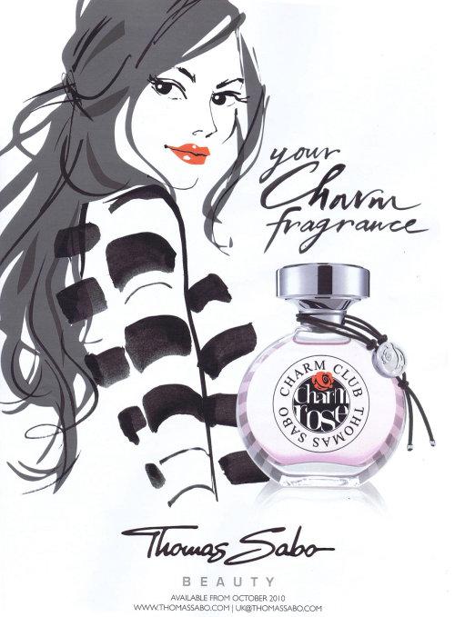 Une illustration pour le parfum Thomas Sabo par Jacqueline Bissett