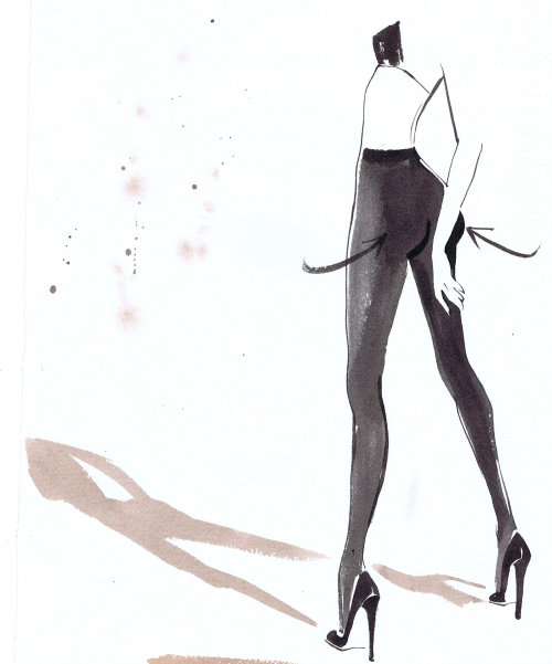 fashion lady illustration Calzedonia Italian Tights packaging July 2011