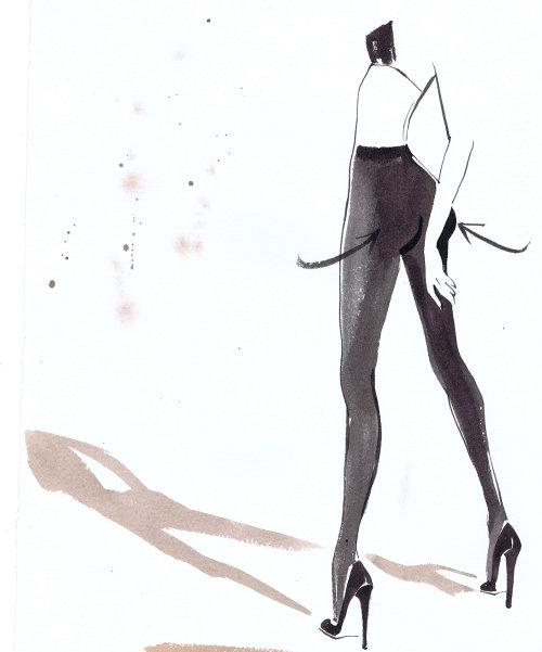 illustration de mode dame Calzedonia Italian Tights packaging juillet 2011