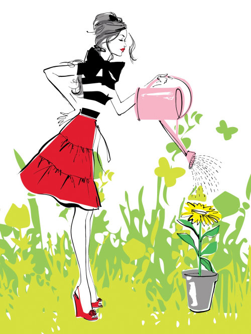 line illustration of lady watering plants flowers
