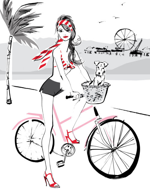 Illustration of lady on bicycle