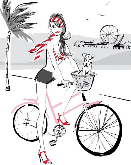 Illustration de la dame à vélo